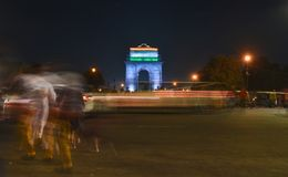 India gate during night time. Chaos during night.  royalty free stock photography