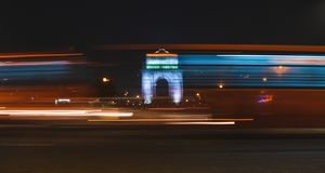 India gate during night time. Chaos during night.  stock image