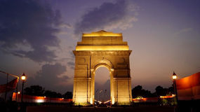India Gate at night. India Gate is a war memorial located astride the Rajpath road in New Delhi, India Royalty Free Stock Photo