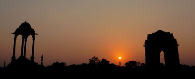 India Gate. Silhouette of India Gate a the time of sunset Stock Photo