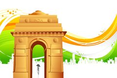 India Gate on Tricolor Background Stock Photography