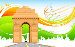 India Gate on Tricolor Background Royalty Free Stock Photo