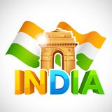 India Gate with Tricolor Flag Royalty Free Stock Photography