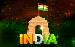 India Gate with Tricolor Flag Stock Image