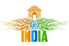 India Gate with tricolor floral swirl Royalty Free Stock Photos