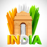 India Gate with Tricolor grungy background Royalty Free Stock Images