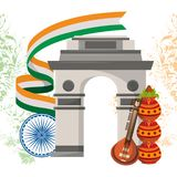 India gateway monument architecture emblem. India gateway lotus flower and guitar with flag and wheel emblem vector illustration graphic royalty free illustration