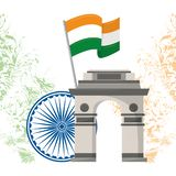 India gateway monument architecture emblem. With flag and wheel vector illustration graphic vector illustration