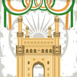 India gateway monument building with flags. On wheel grunge emblem background vector illustration royalty free illustration