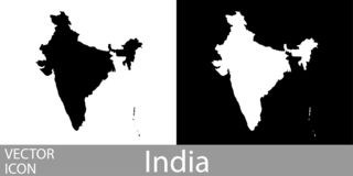 India gedetailleerde kaart vector illustratie