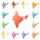 India geometryczny poligonalny, mozaika stylu mapy Zdjęcia Stock