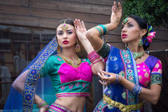 India girls. Two beautiful women india beauty girl traditional dress Royalty Free Stock Photos