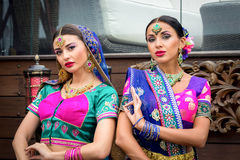 India girls. Two beautiful women india beauty girl traditional dress Royalty Free Stock Image