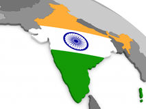 India on globe with flag Royalty Free Stock Photos