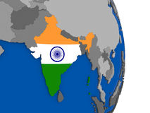 India on globe with flag Royalty Free Stock Photography