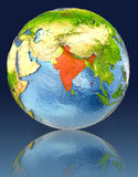 India on globe with reflection. Illustration with detailed planet surface. Elements of this image furnished by NASA Stock Photos