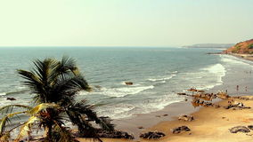 India Goa beach Seaside panorama view. stock video