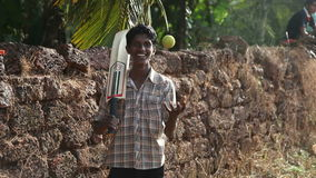 INDIA, GOA - 2012: Boys are playing cricket on a field of village stock video