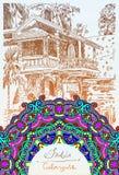 India Goa Calangute Baga landscape street and circle paisley pat Royalty Free Stock Photo