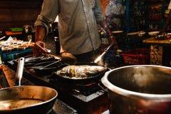 India Goa Fish. Coocking chef cafe pan Royalty Free Stock Images