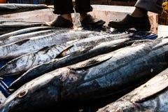 India Goa Fish. Market black shoes boots Stock Photos
