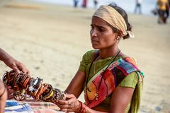 Seller on the beach Goa royalty free stock photography