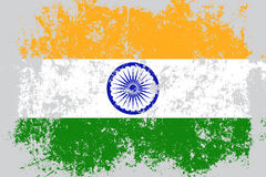 India grunge, old, scratched style flag Stock Images