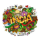 India hand lettering and doodles elements. Background. Vector illustration Stock Illustration