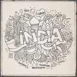 India hand lettering and doodles elements. Background. Vector illustration Vector Illustration