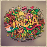 India hand lettering and doodles elements Stock Image