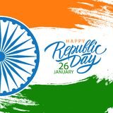 India Happy Republic Day celebrate card with hand lettering holiday greetings and brush stroke. India Happy Republic Day celebrate card with hand lettering Royalty Free Stock Photos
