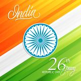 India Happy Republic Day, january 26 greeting card with handwritten word India. Vector illustration Stock Image