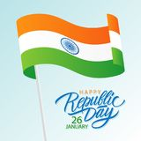 India Happy Republic Day, january 26 greeting card with waving indian national flag and hand lettering text design. Vector illustration Royalty Free Stock Photos