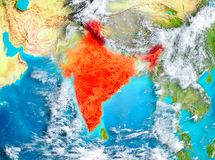 India in red on Earth Royalty Free Stock Photo