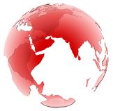 Translucent Red Glass globe on white background. India highlighted on red translucent globe on white background. spinning or rotating 3d globe Stock Image