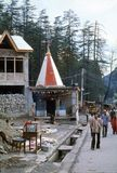 1977. India. A Hindu and Buddhist shrine in Manali. The photo shows, a small combined Hindu and Buddhist Shrine in Manali Royalty Free Stock Photo