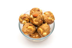 India homemade sweet dry fruits laddoo in glass bowl Stock Photography