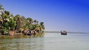 India. Houseboat on Kerala backwaters. stock video footage