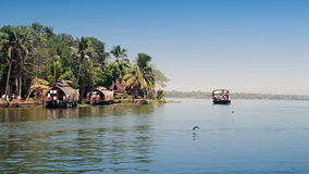 India. Houseboat on Kerala backwaters. India Houseboat on Kerala backwaters stock video footage