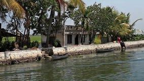 India. Houseboat on Kerala backwaters stock footage