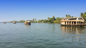 India. Houseboat on Kerala backwaters. India Houseboat on Kerala backwaters stock video