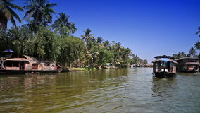 India. Houseboat on Kerala backwaters. Landscape in a sunny day stock video