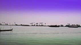 India. Houseboat on Kerala backwaters stock video footage