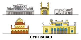 India, Hyderabad flat landmarks vector illustration. India, Hyderabad line city with famous travel sights, skyline stock illustration