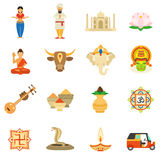 India Icons Flat Set Royalty Free Stock Photography