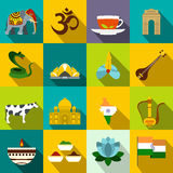 India icons flat Royalty Free Stock Photography