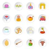 India icons set, cartoon style Royalty Free Stock Image