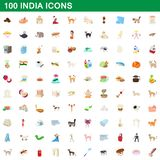100 india icons set, cartoon style. 100 india icons set in cartoon style for any design illustration stock illustration