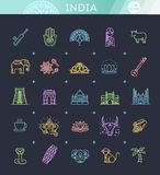 India icons set. Indian attractions, line design. Tourism in India, isolated vector illustration. Traditional symbols. Outline black icons set in thin modern Royalty Free Stock Images