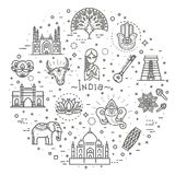 India icons set. Indian attractions, line design. Tourism in India, isolated vector illustration. Traditional symbols. Outline black icons set in thin modern Stock Images